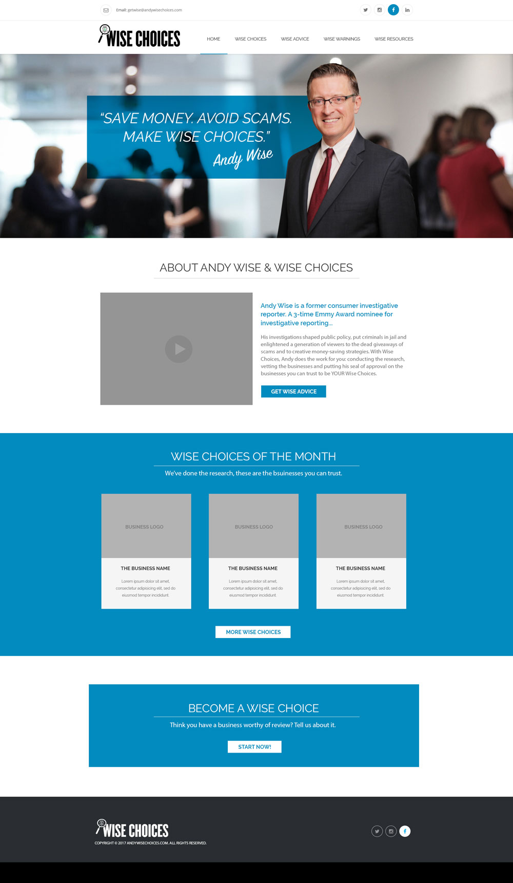 an image of website concept design for andywisechoices.com