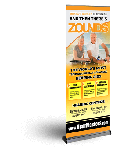 image of printed indoor banner and stand combo