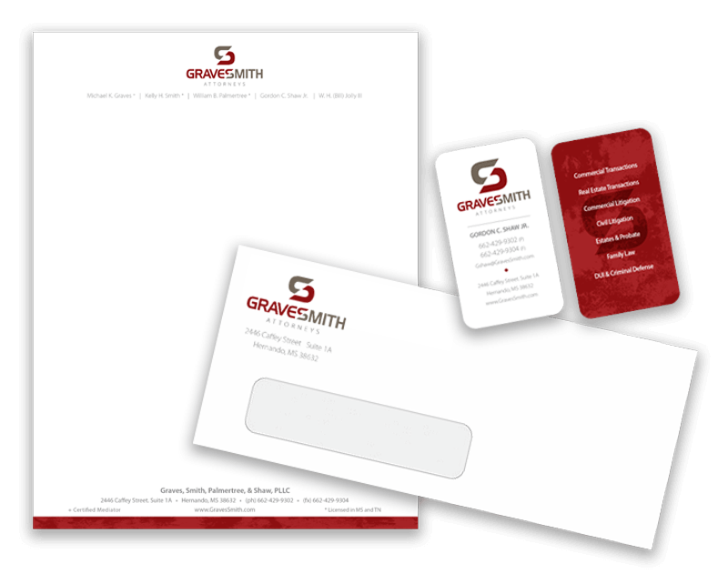 image of printed business cards, envelopes and letterheads