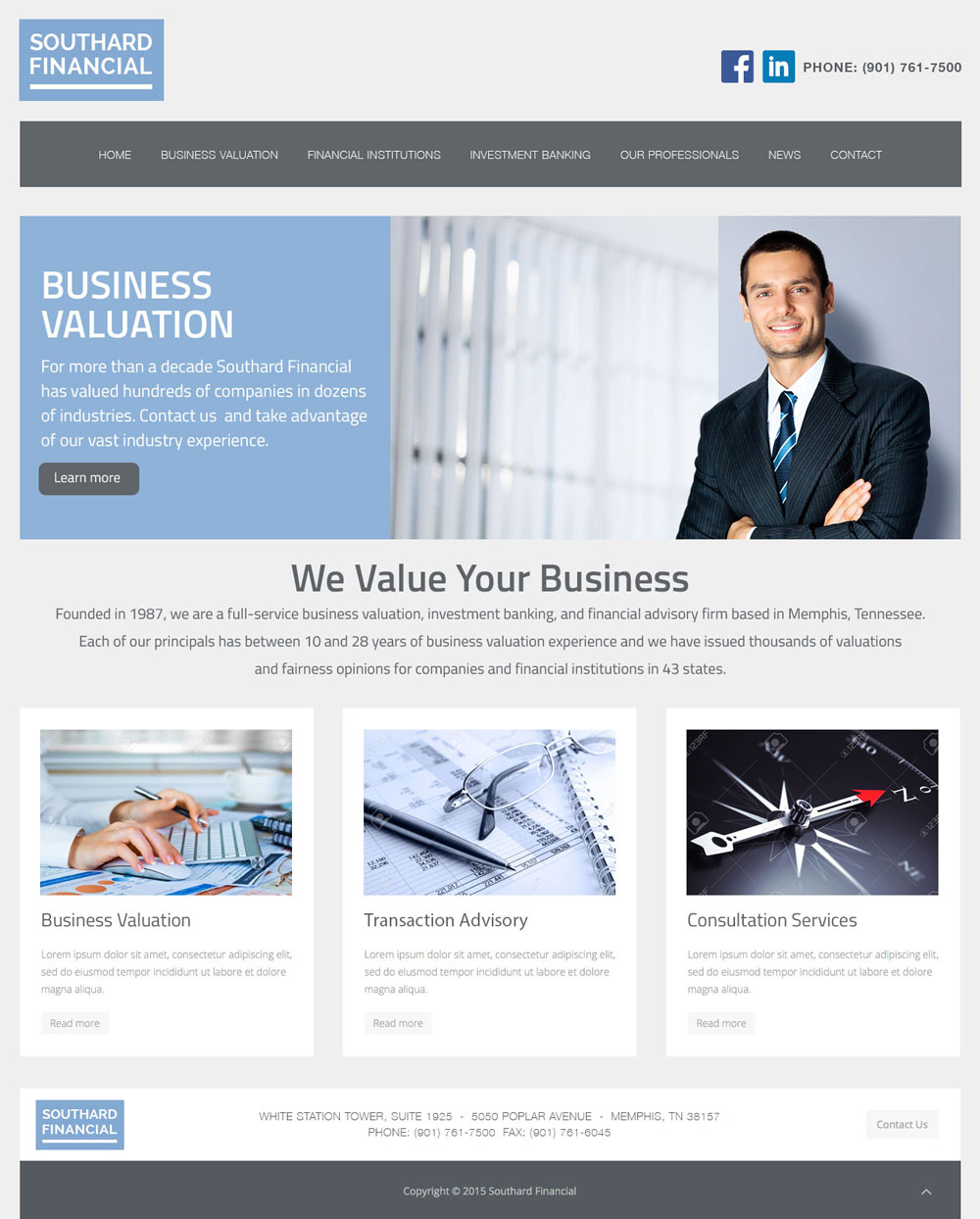 image of a website design concept for southard financial